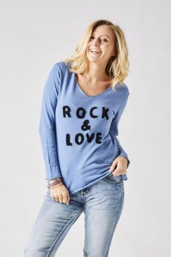 "T-Shirt V neck ""Rock & Love"""
