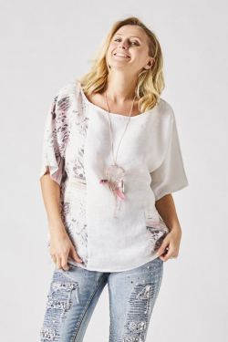 Linen Top with print side