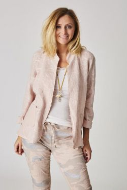 Linen jacket with embroidery