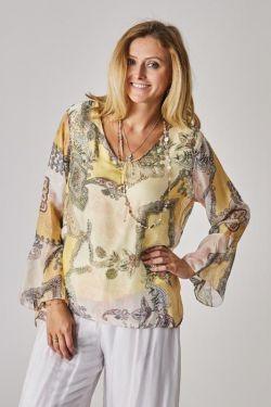 Parsley print slik blouse