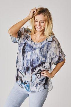 Picasso design silk blouse