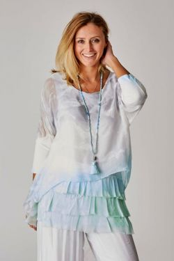 Layered OMBRE silk blouse